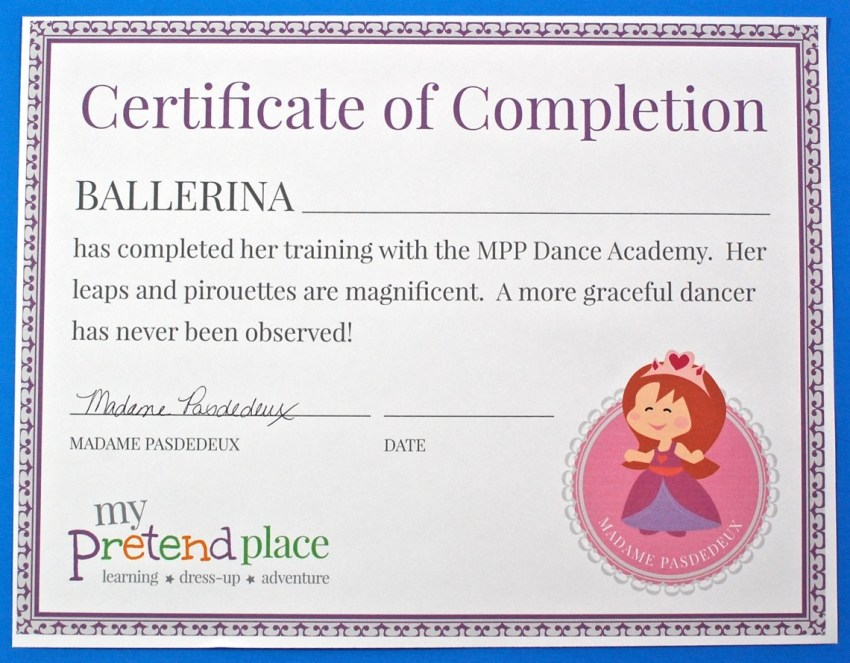 My Pretend Place certificate of completion