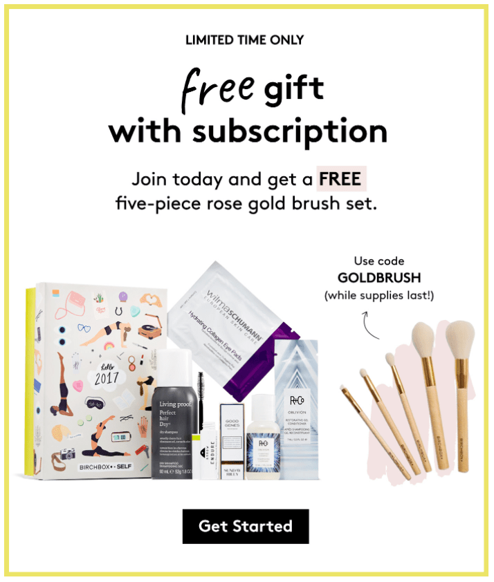 Birchbox Limited Time Offer: FREE 5-Piece Brush Set with Subscription!