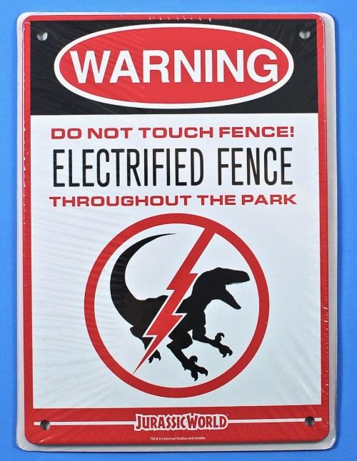 Jurassic World warning sign