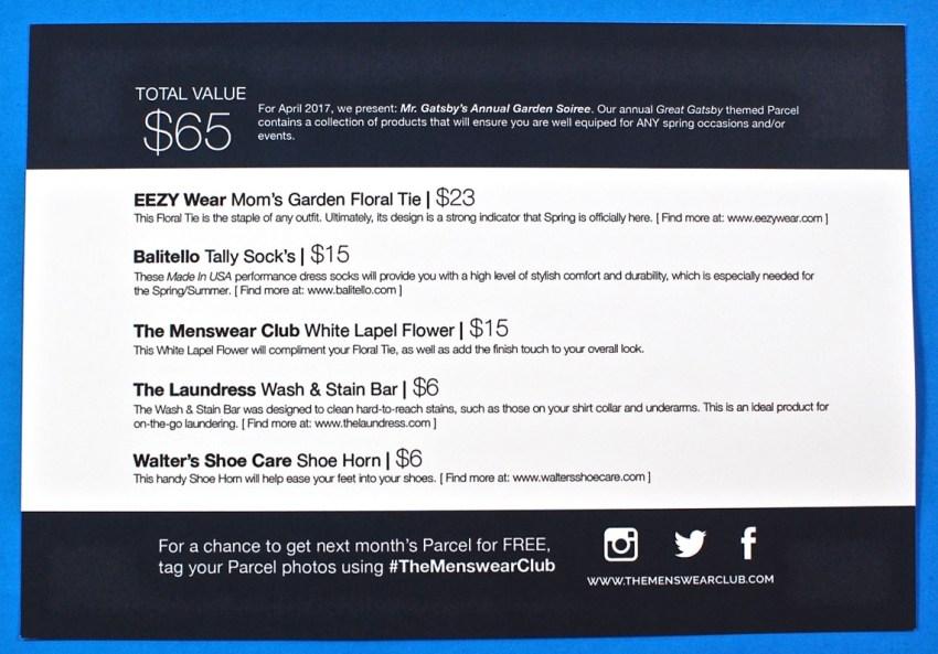 April 2017 Menswear Club review