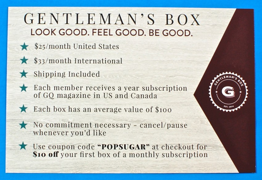 Gentleman's box coupon