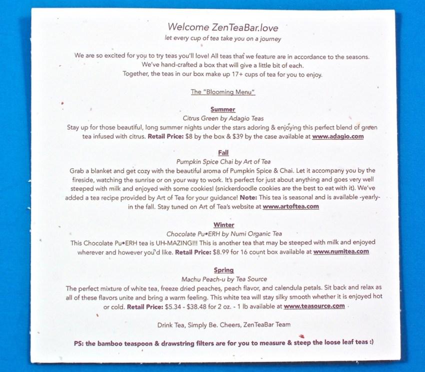 ZenTeaBar contents