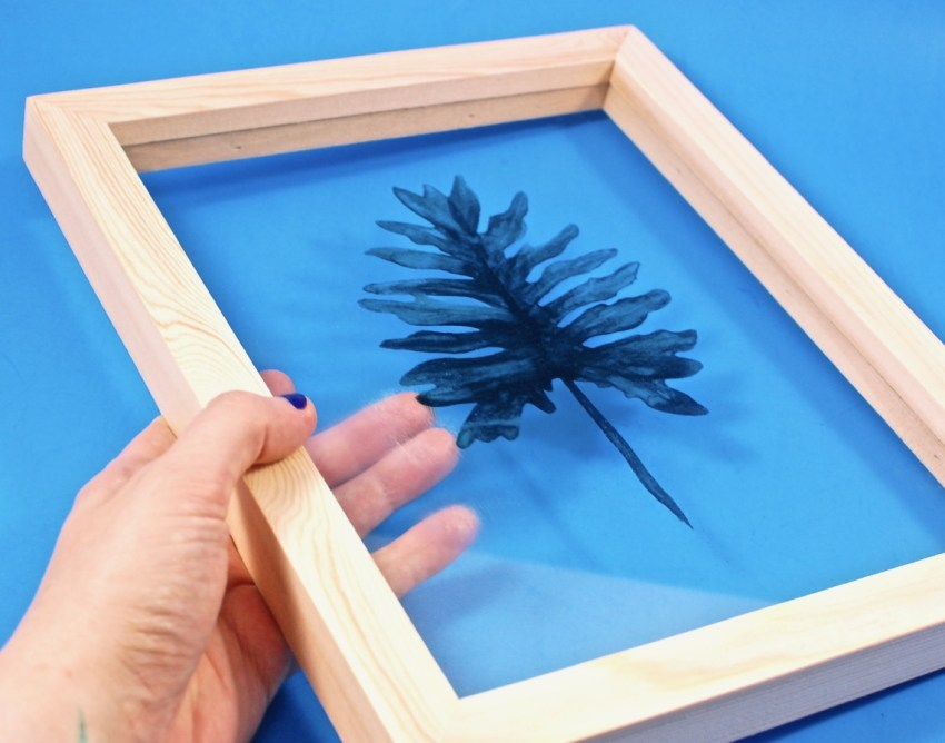 framed art leaf glass