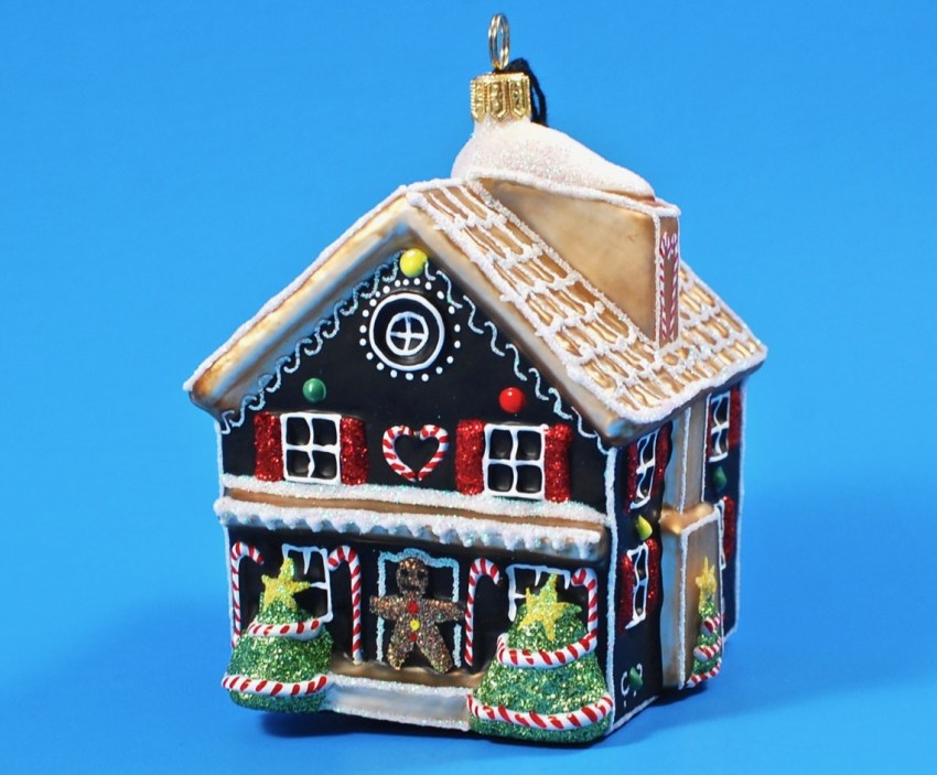 Joy to the World gingerbread house ornament