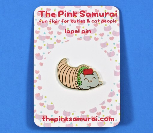 the pink samurai cat pin