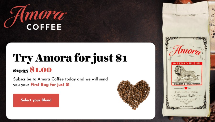 Amora Coffee for just $1