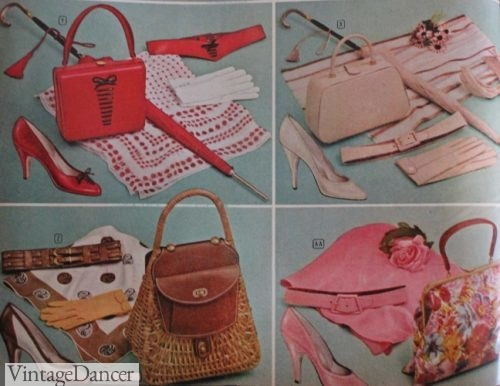 What Did Women Wear in the 1950s  1950s Fashion Guide 1955 Colored Leather bags  straw and fabric grandma bag