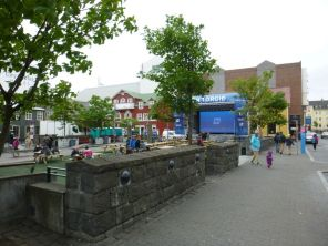 the EUFA football matches were shown on this big screen downtown