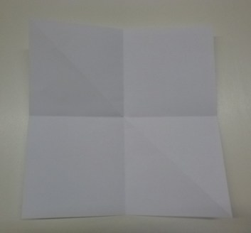 3 folds in a square piece of paper