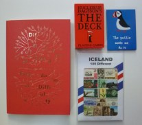 just the essentials - playing cards, puffin magnet, stamp assortment and a book on creativity