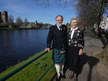 In our Glad Rags in Inverness -thanks to a little old passerby who insisted on taking both of us together