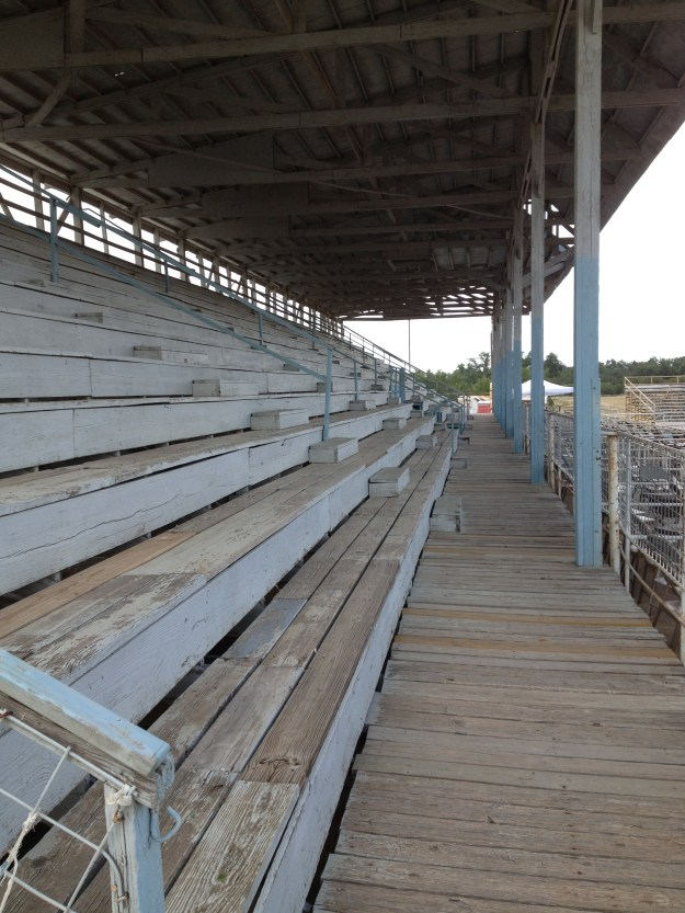 "The bleachers at Junction, Texas have an ""old school"" feel."
