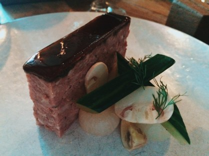 Pork and Mushroom Terrine with Dill, Pickles and Toasted Sourdough