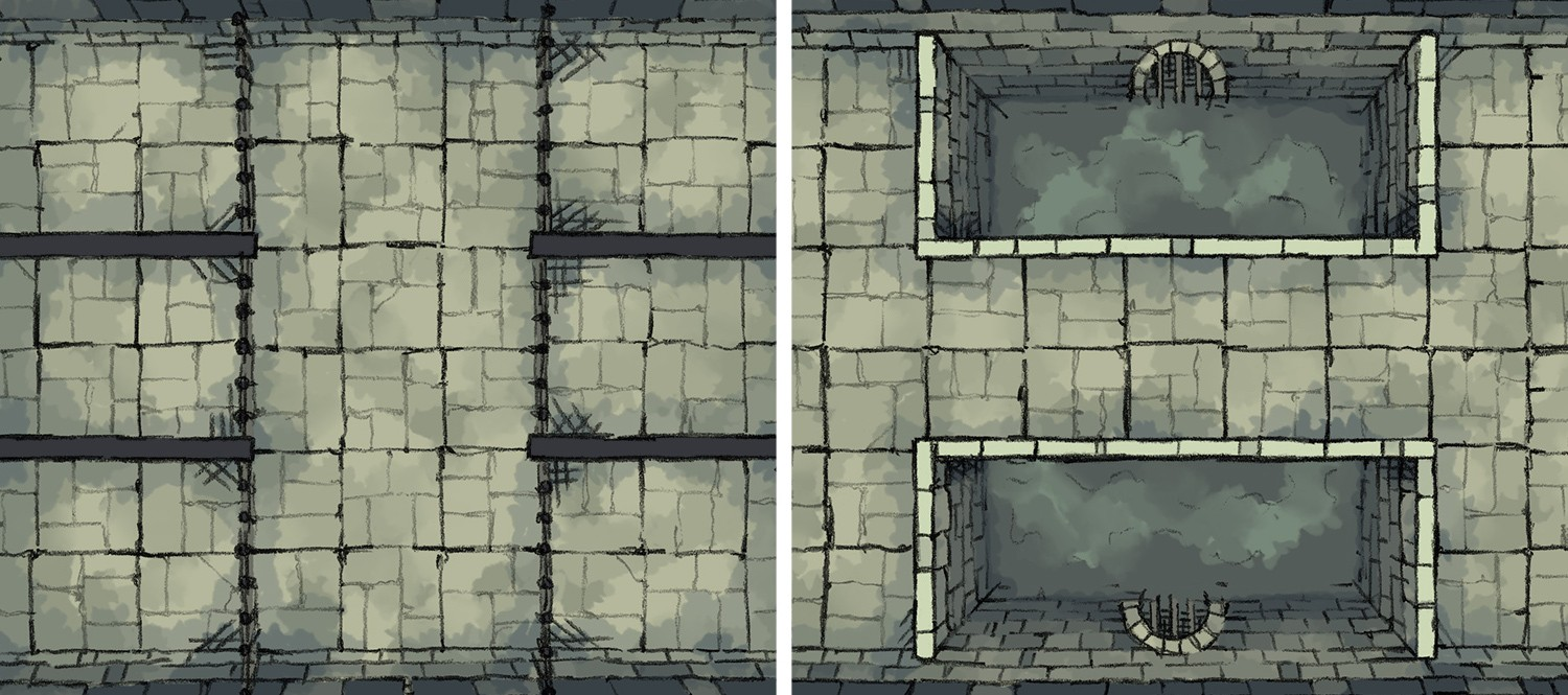 Dungeon Prison Amp Pool Two Free Battle Maps By 2 Minute Table Top