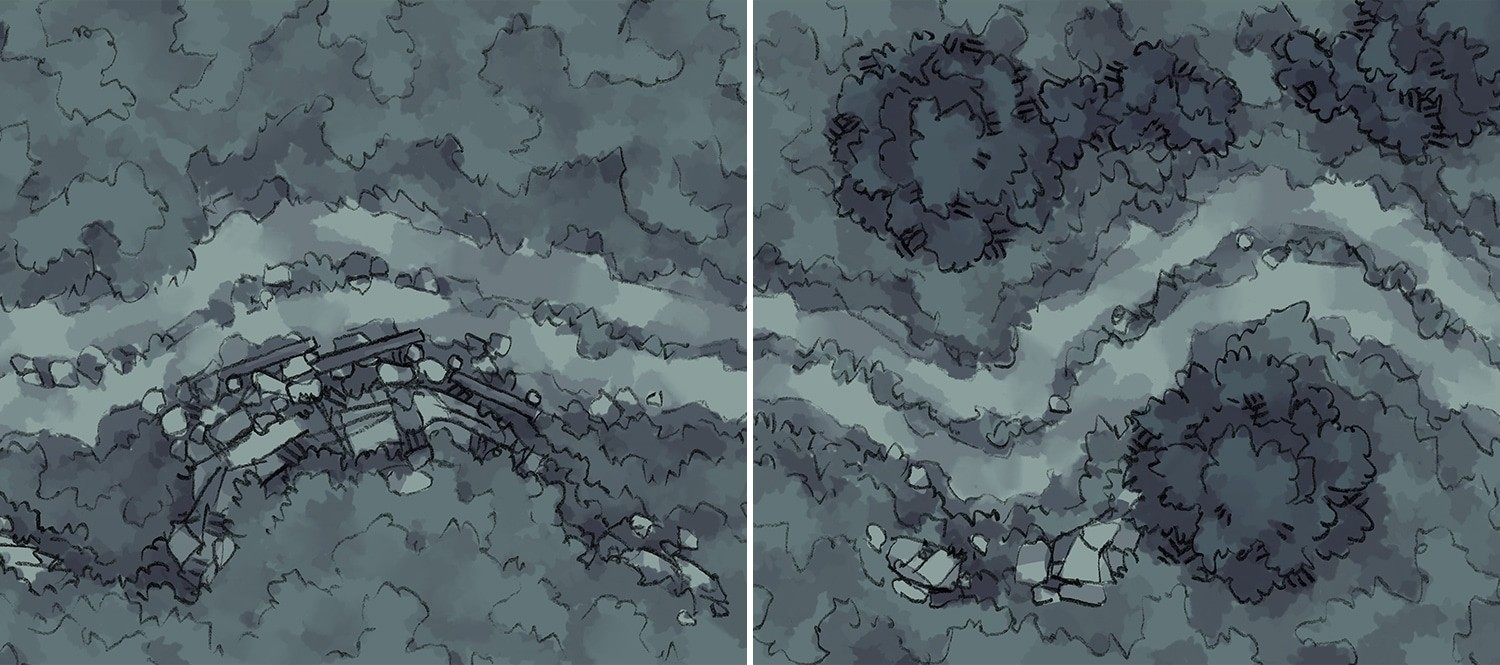 Roadside Rise & Wilderness Battle Maps AT NIGHT
