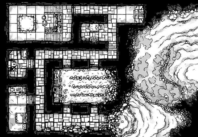 Dwarven Hermitage Dungeon Map, Black & White