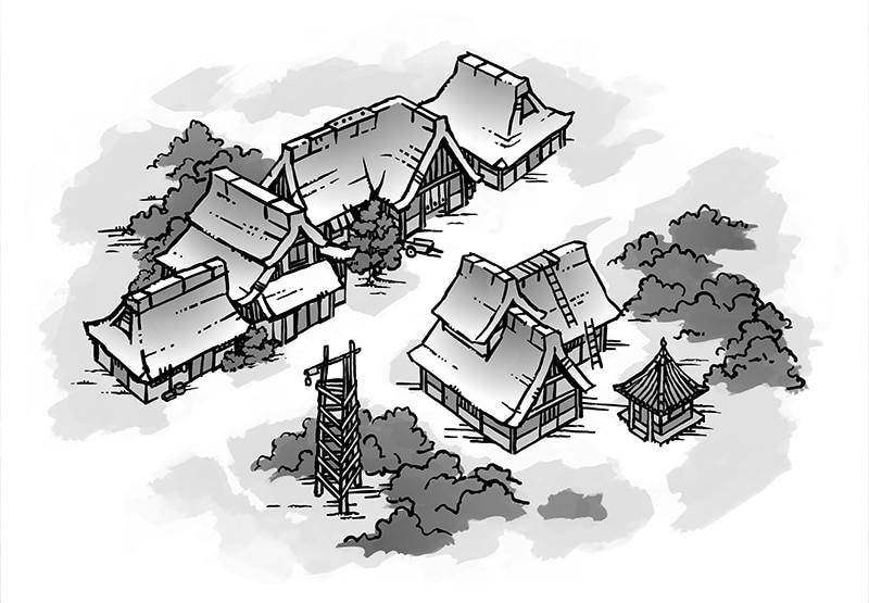 Japanese Village RPG Map, Black & White