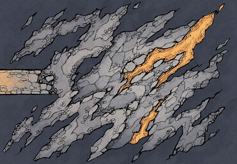 Jagged Cave battle map, hex grid