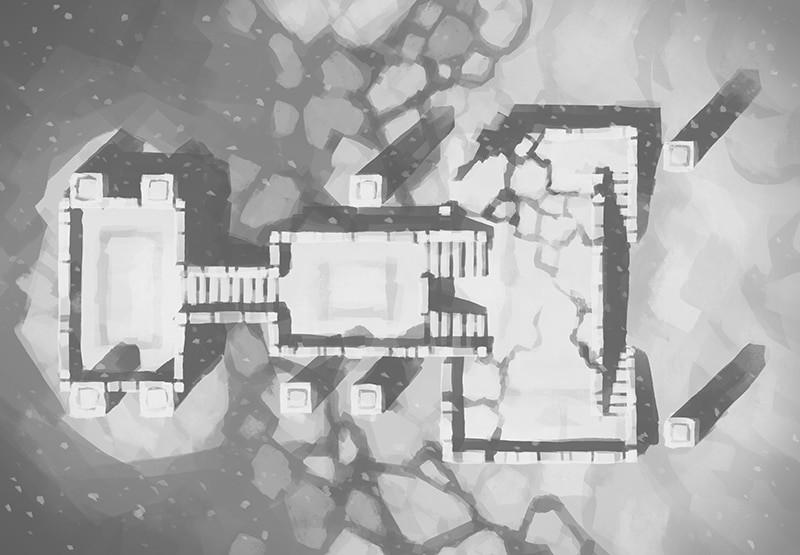 Snowy Sanctum, black & white