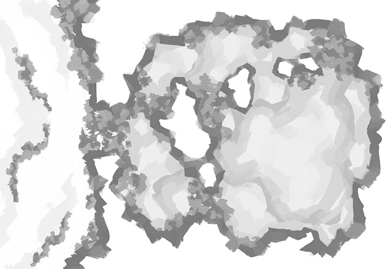 Monster Lair RPG Battle Map, Black & White Greyscale