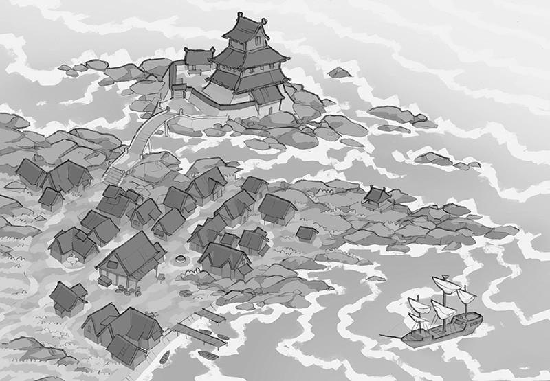 Castle Town city map, black & white