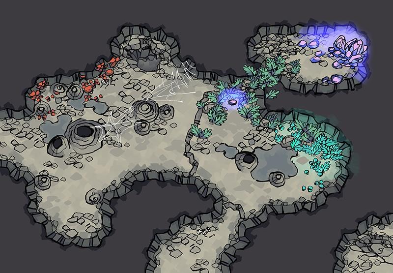 Underdark Terrain RPG Tokens, demonstration color