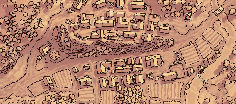 Poacher's Crest RPG Town Map, parchment banner