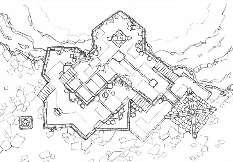 Volcanic Forge RPG Battle Map, line art