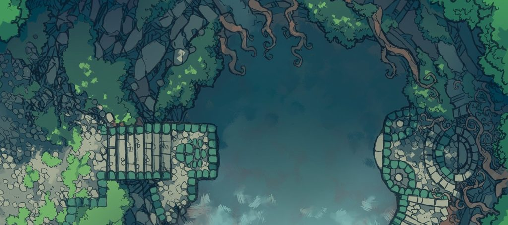 Jungle Temple RPG battle map, banner preview