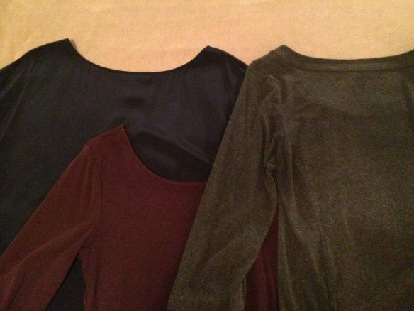 Dark blue, dark red, and gray shirts