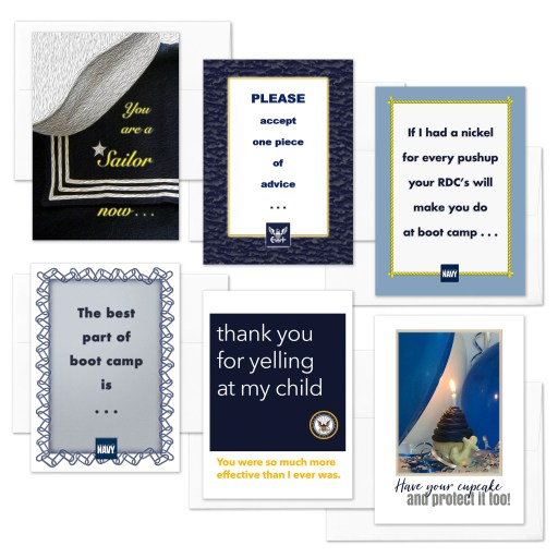 A Sailor Now - Mixed pack of 6 military appreciation boot camp graduation greeting cards - including envelopes - by 2MyHero