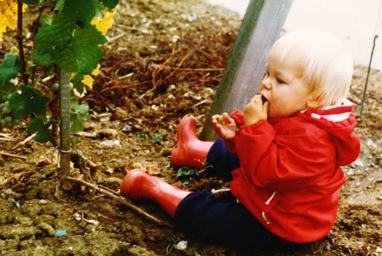 Micha munching grapes