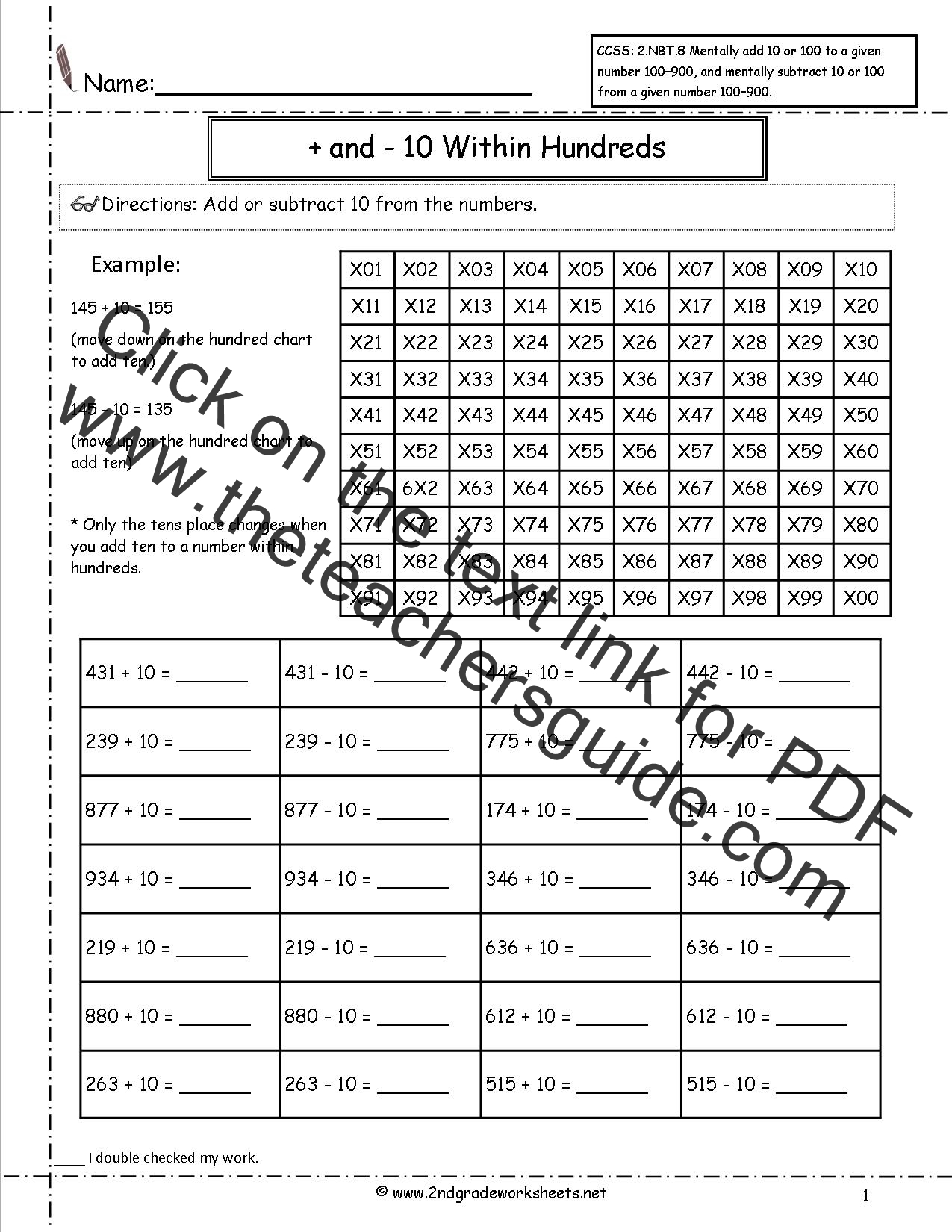 Ccss 2 Nbt 8 Worksheets Adding And Subtracting 10 And 100