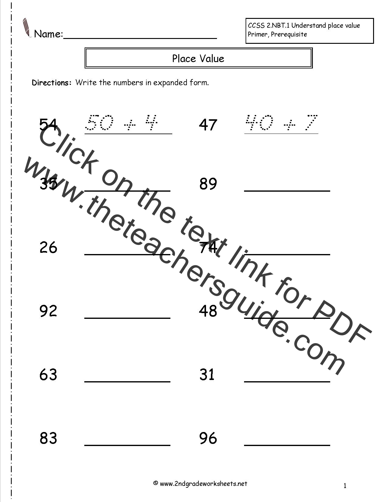Second Grade Reading And Writing Numbers To Worksheets