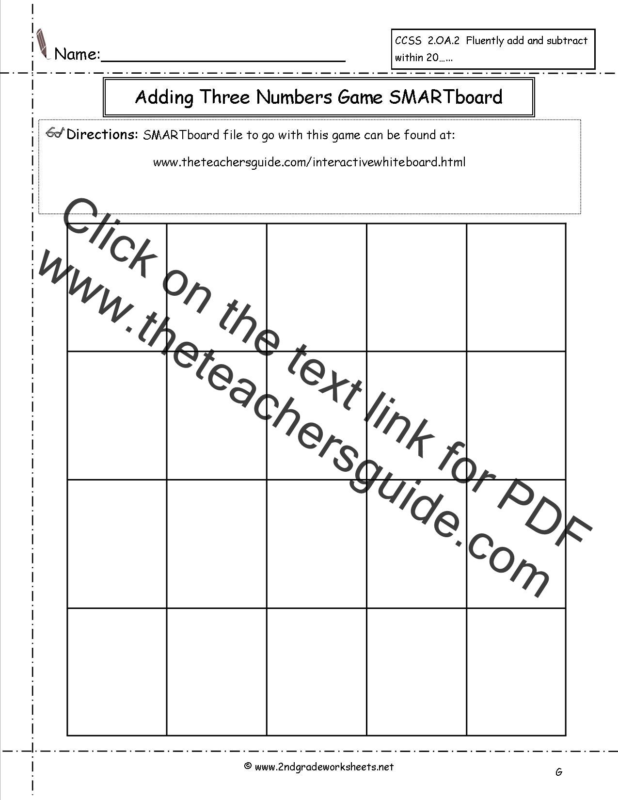 Free Addition Fluency Worksheets