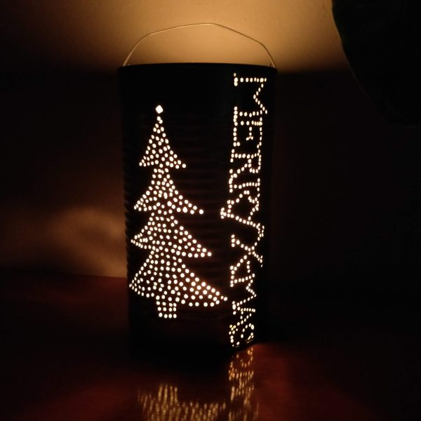 Regular Tall Christmas Tree Merry X-mas Candle Light Lantern Recycled Can