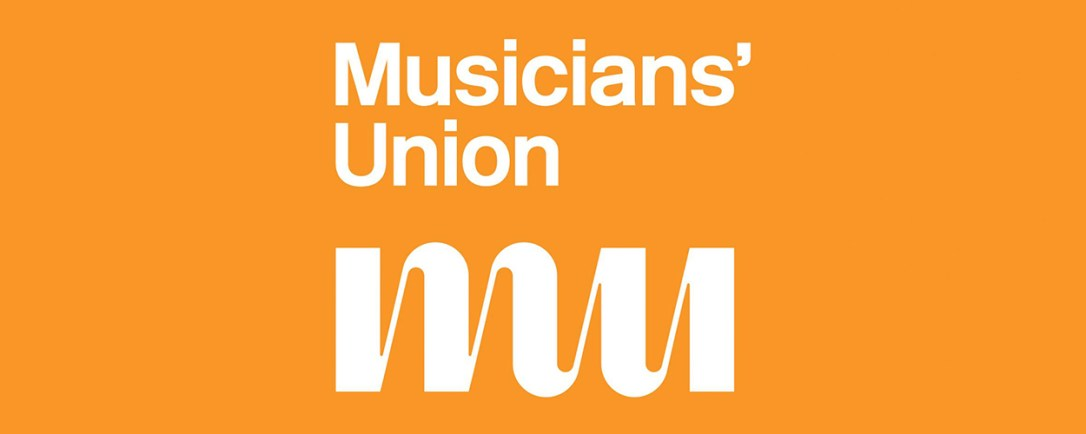 Musician Union Logo, Text reading Musicians' Union MU White on orange background