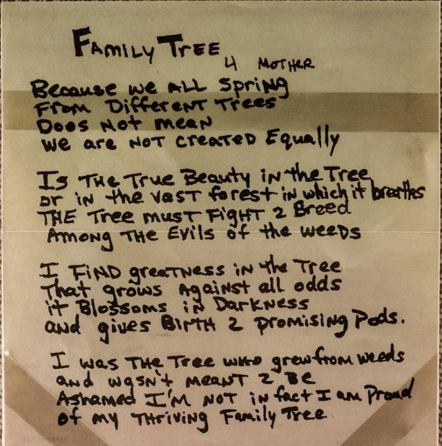 Family Tree (4 Mother) - Tupac's Handwritten Poem - 2Pac ...