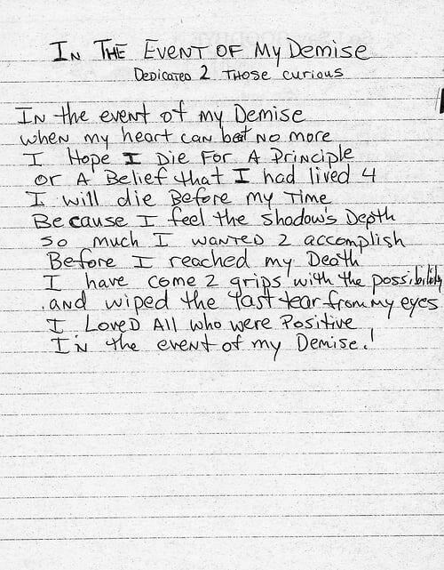 In The Event Of My Demise -Tupac's Handwritten Poem