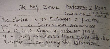 Or My Soul (Dedicated 2 Moms, Dedicated 2 the Powers That B) - Tupac's Handwritten Poem