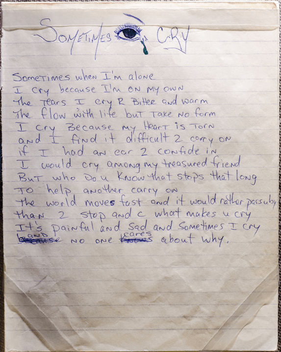 Sometimes I Cry - Tupac's Handwritten Poem | 2PacLegacy net