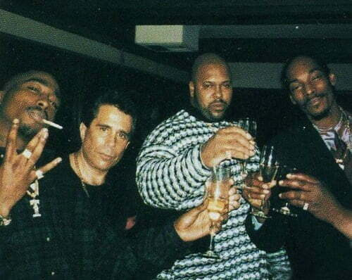 Tupac with David Kenner, Suge Knight and Snoop Dogg.