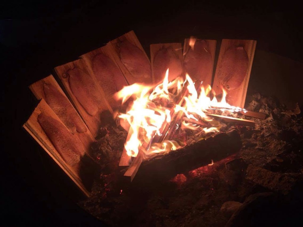 Planked fish on a fire.