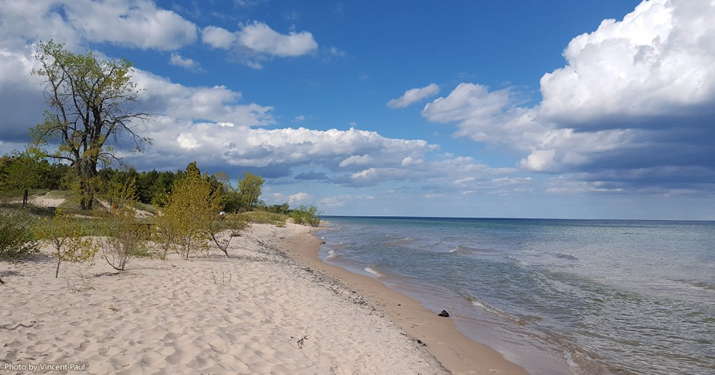 Kohler-Andrae State Park beach looking North towards Sheboygan, Wisconsin.
