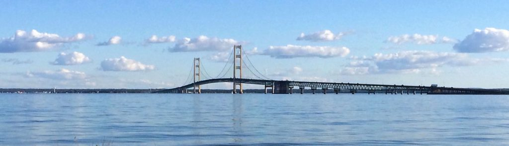 Mackinac Bridge panoramic view during the day.