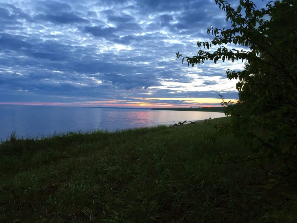 The sunrise at Sleeping Bay, Michigan on August 5th, 2017.