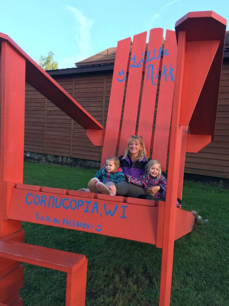 A big red chair in Cornucopia, Wisconsin.
