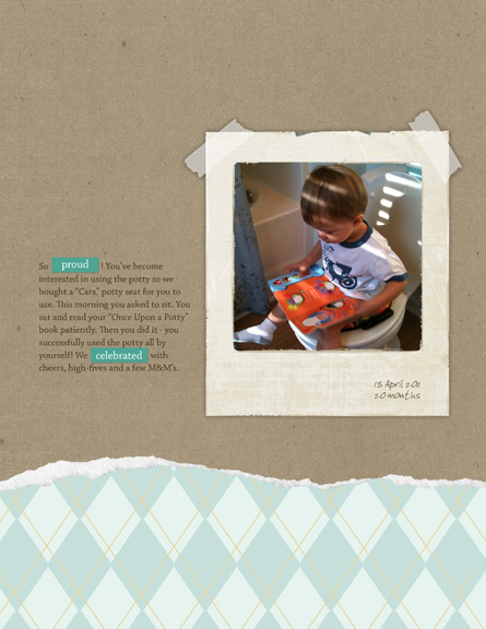 potty training: april 2011 digital scrapbooking page