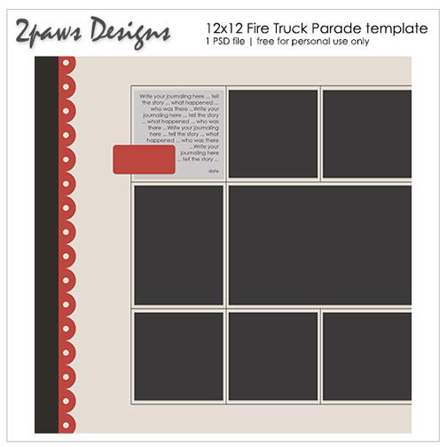 2paws Designs: Fire Truck Parade 12x12 Digital Scrapbooking Template
