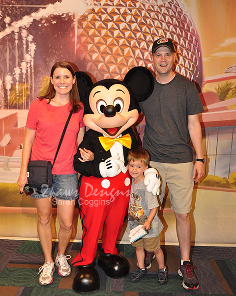 Family Photo at Epcot with Mickey Mouse - WDW 2013